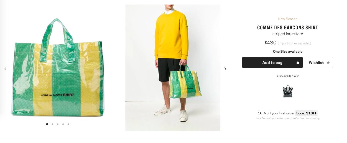 Hơn 10 triệu đồng là giá mẫu túi mới của Comme Des Garcons, và nhìn nó chẳng khác túi bạt dứa là bao - Ảnh 1.