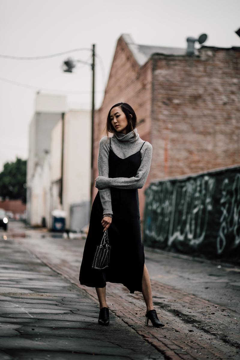 Áo cổ lọ và váy slip dress 3