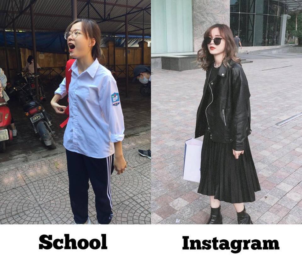 Danh tính cô bạn trong bức ảnh bóc phốt con gái lúc đi học và khi lên đồ chụp ảnh trúng tim đen bao người - Ảnh 1.