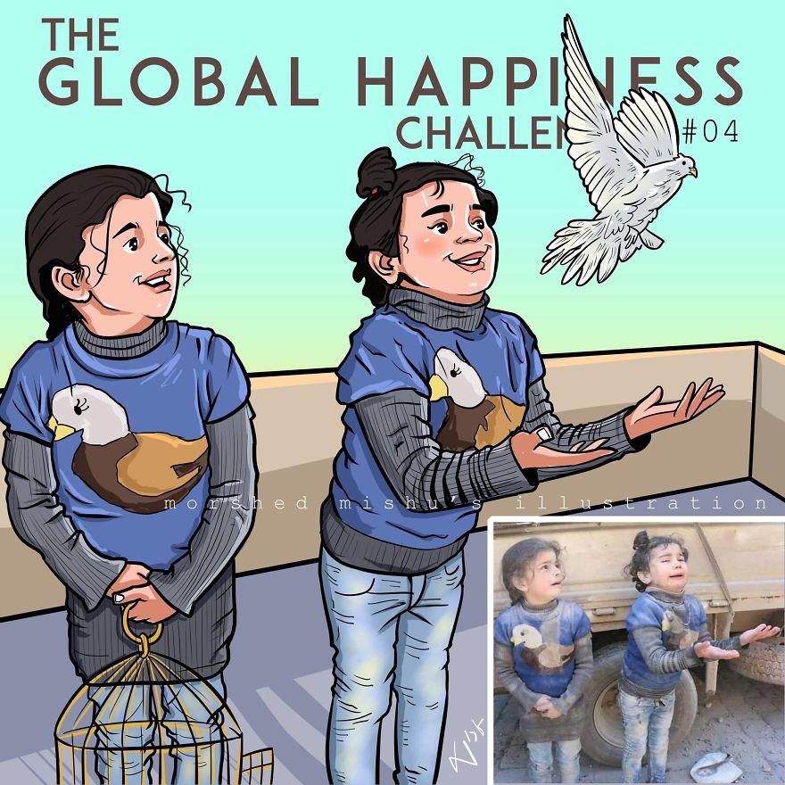 Lặng người xem những bức vẽ về hạnh phúc, được tái hiện từ cuộc sống tan thương ở Syria - Ảnh 8.