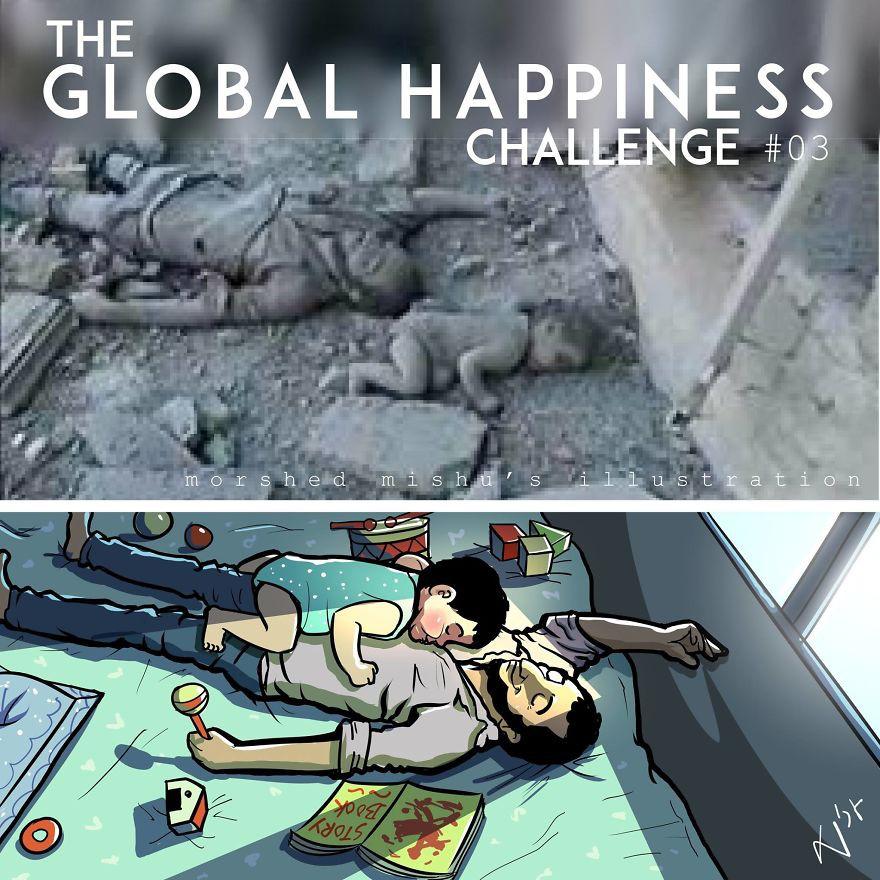 Lặng người xem những bức vẽ về hạnh phúc, được tái hiện từ cuộc sống tan thương ở Syria - Ảnh 6.