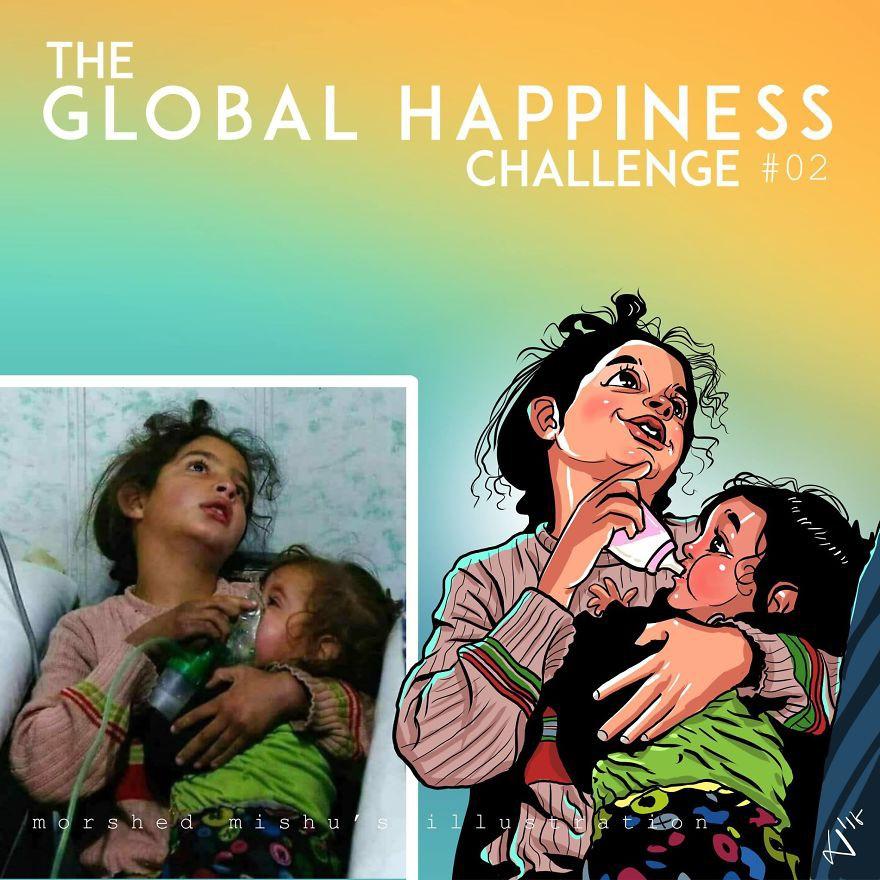 Lặng người xem những bức vẽ về hạnh phúc, được tái hiện từ cuộc sống tan thương ở Syria - Ảnh 4.