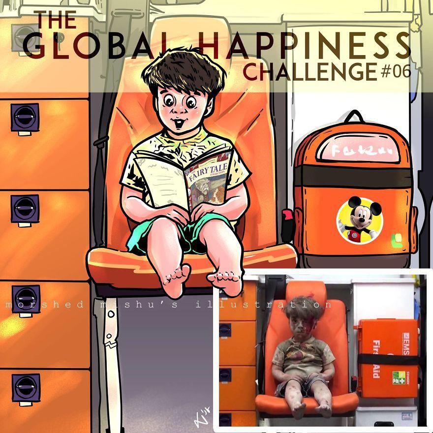 Lặng người xem những bức vẽ về hạnh phúc, được tái hiện từ cuộc sống tan thương ở Syria - Ảnh 12.