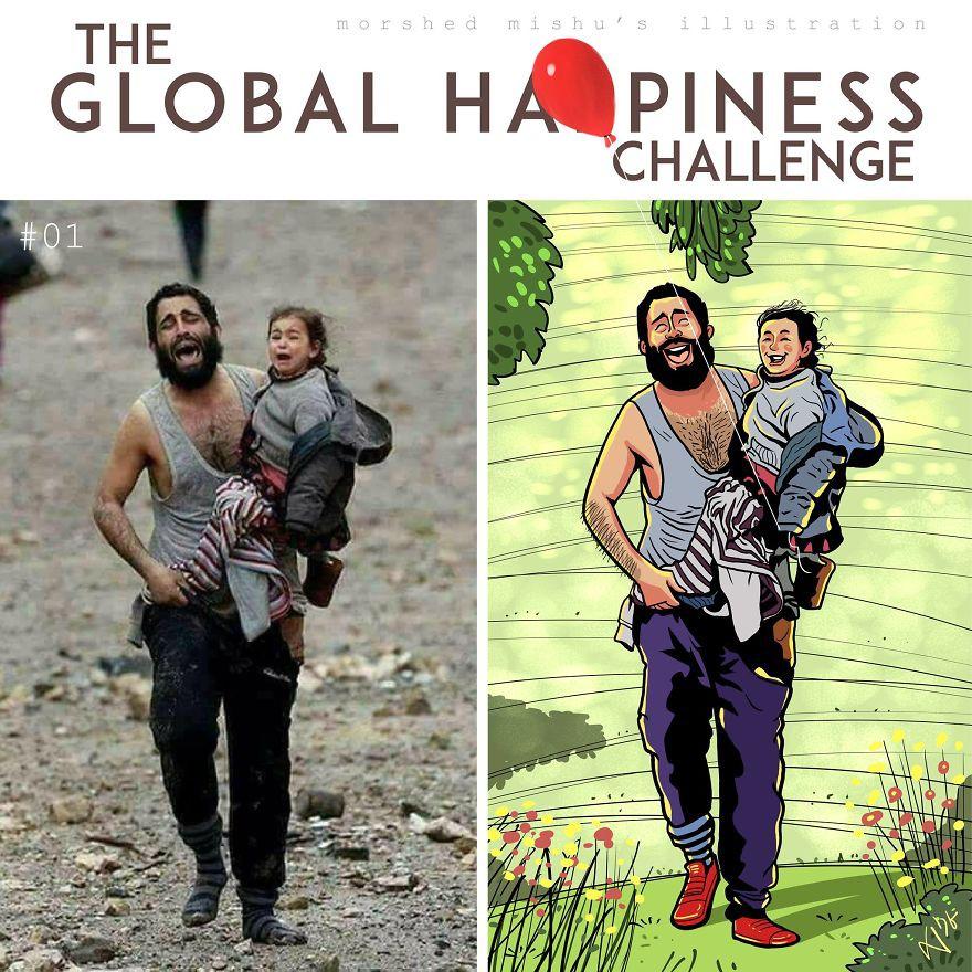 Lặng người xem những bức vẽ về hạnh phúc, được tái hiện từ cuộc sống tan thương ở Syria - Ảnh 2.