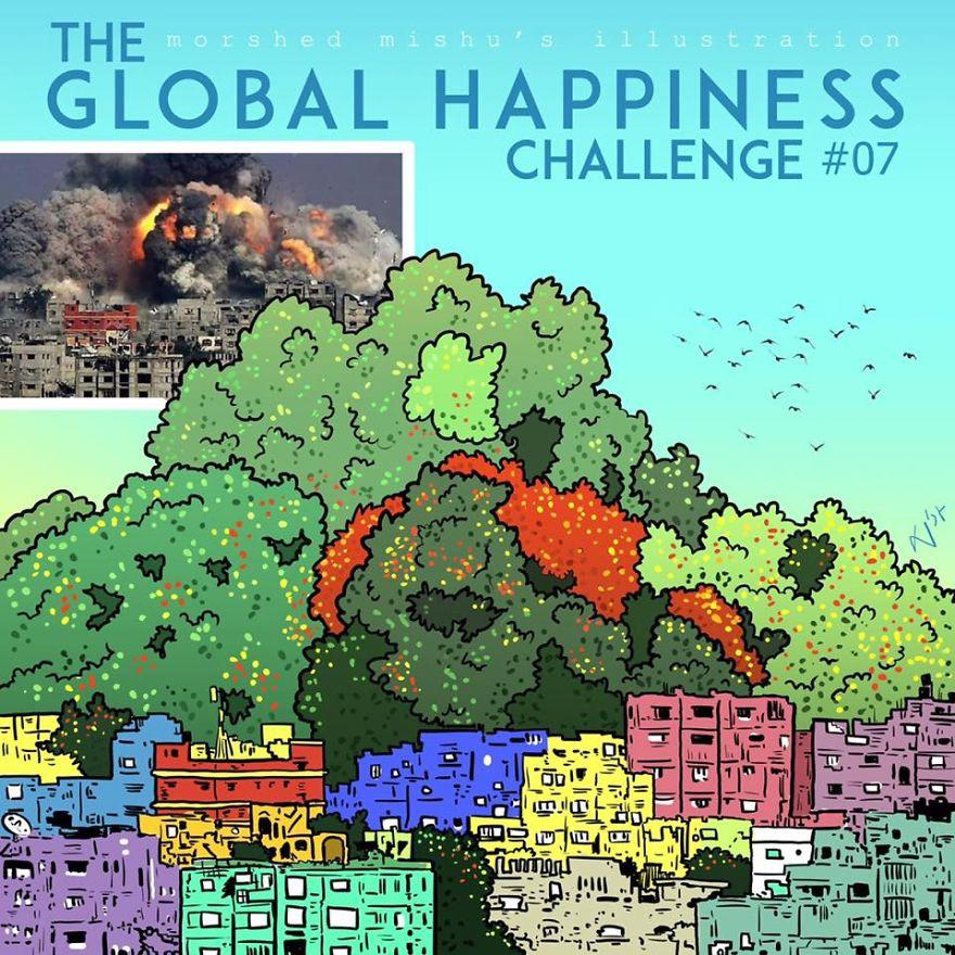 Lặng người xem những bức vẽ về hạnh phúc, được tái hiện từ cuộc sống tan thương ở Syria - Ảnh 14.