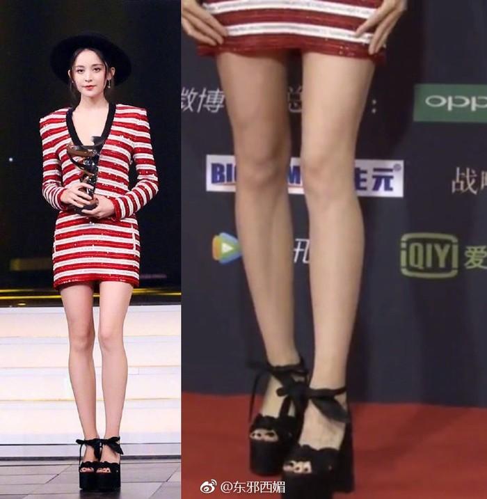 Dân mạng phỏng đoán chiều cao gót giày của Tần Lam trong đêm hội Weibo 2018 lên đến 25cm?