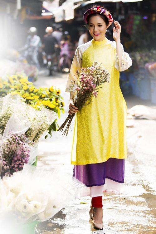 Chọn áo dài diện Tết theo từng vóc dáng, giúp bạn tự tin du xuân