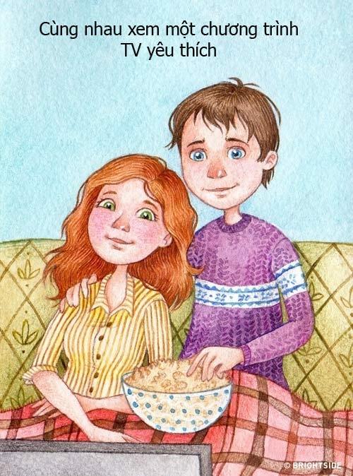 Được ngồi xem chương trình TV yêu thích cùng nhau là hành động tuyệt vời mà bất cứ cặp vợ chồng hạnh phúc nào cũng thực hiện.