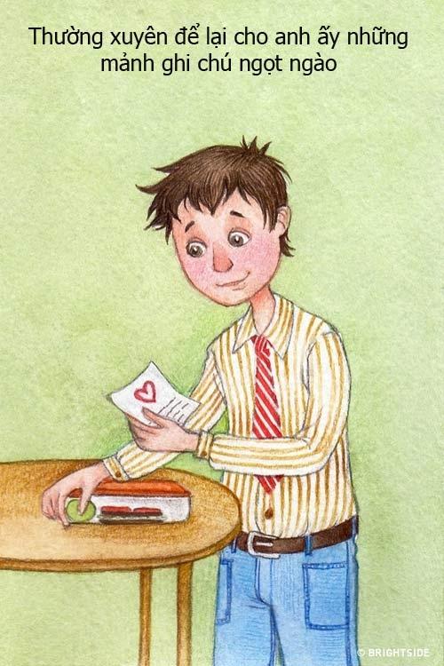 Những mảnh giấy nhớ với những lời nhắn gửi ngọt ngào hạnh phúc sẽ giúp hâm nóng tình cảm của hai người.