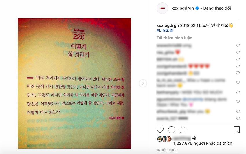 Sau 1 năm vắng bóng, G-Dragon (Big Bang) đột ngột đăng ảnh lên Instagram để báo hiệu điều gì? - Ảnh 2.