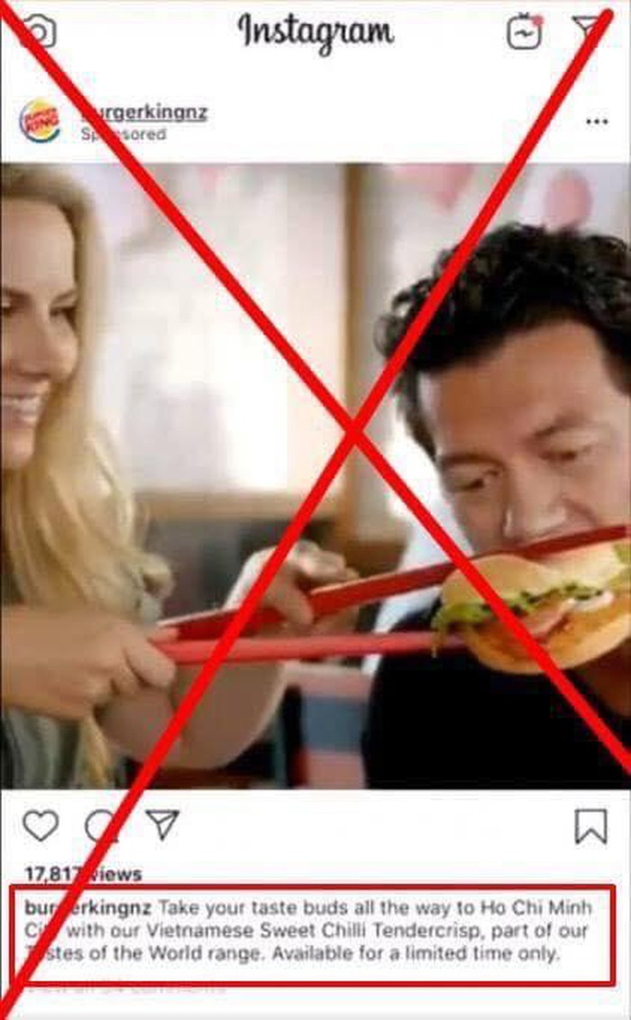 Quảng cáo chế giễu việc dùng đũa, Burger King bị dân mạng đề nghị biến khỏi Việt Nam