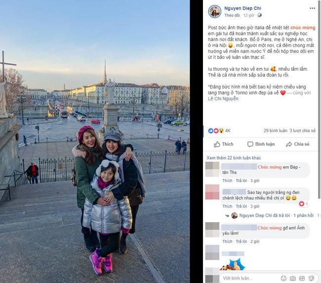 MC Diệp Chi khoe em gái đã bảo vệ thành công luận văn thạc sĩ ở Ý, mong ngày gia đình sớm đoàn tụ - Ảnh 1.