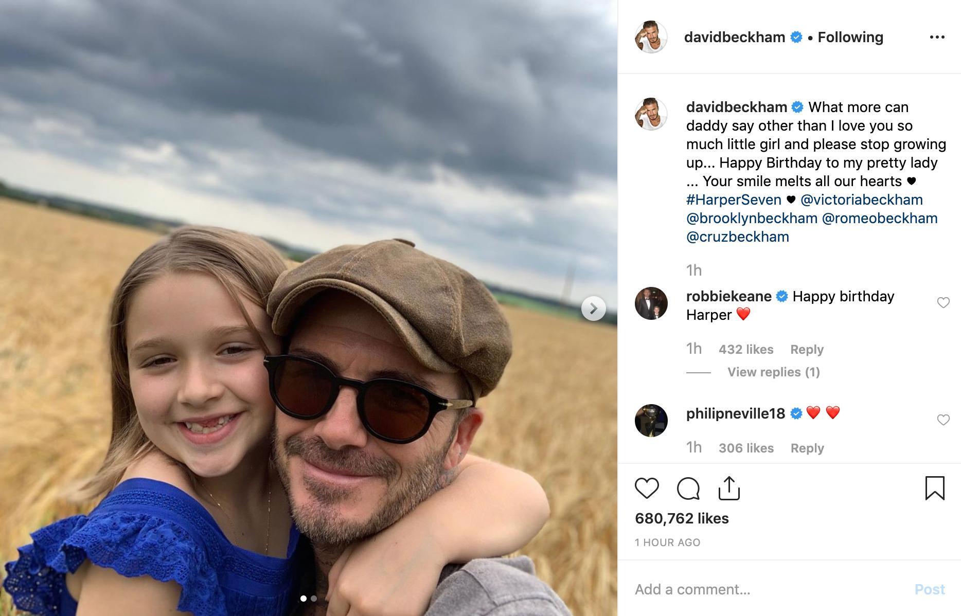 Cả nhà Beckham đăng ảnh chúc mừng sinh nhật Harper 8 tuổi, nhan sắc rực rỡ đáng yêu của cô bé gây chú ý - Ảnh 1.