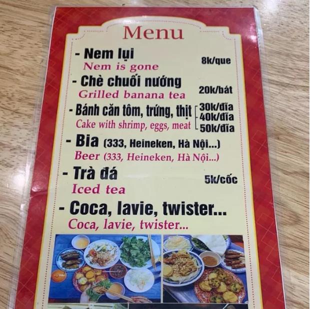 Cười rơi mồm với menu tiếng Anh bá đạo made by chị Google, 99% không biết nem is gone là món gì - Ảnh 2.