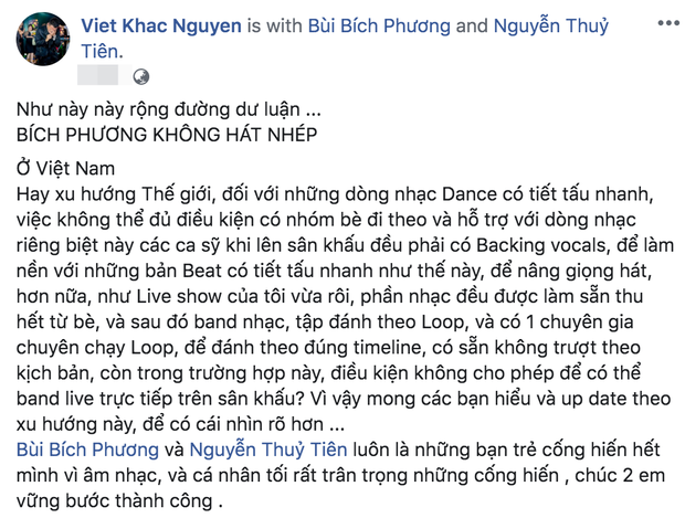 Đạo diễn Việt Tú, nhạc sĩ Khắc Việt và các nhà sản xuất... đều lên tiếng bênh vực Bích Phương khi vướng vào tranh cãi hát đè hay hát nhép - Ảnh 4.