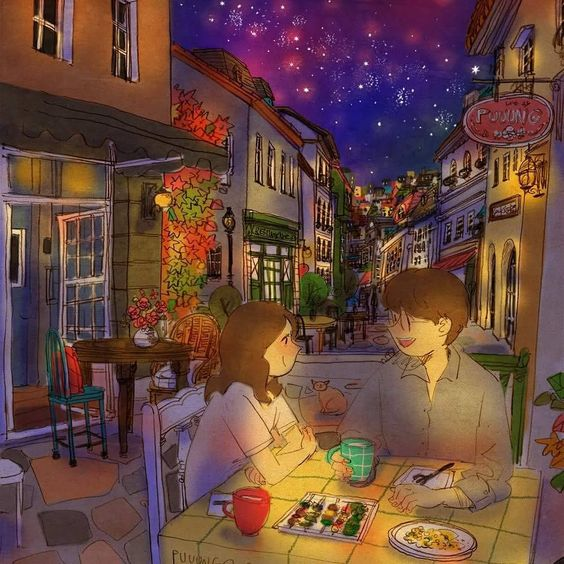 Late night. We had a simple late night snack at some restaurant. I was reeled in to your story. See a full illustration :…