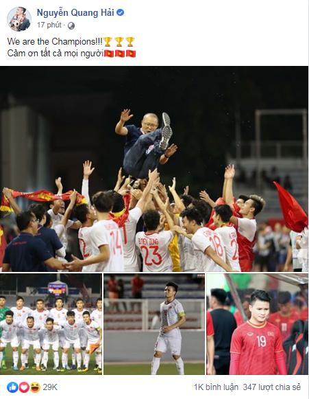 Việt Nam vô địch Sea Games 30, dàn cầu thủ viết nên lịch sử bóng đá nước nhà đã kịp chia sẻ lời cảm ơn đầu tiên sau trận chung kết - Ảnh 7.