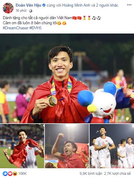 Việt Nam vô địch Sea Games 30, dàn cầu thủ viết nên lịch sử bóng đá nước nhà đã kịp chia sẻ lời cảm ơn đầu tiên sau trận chung kết - Ảnh 2.