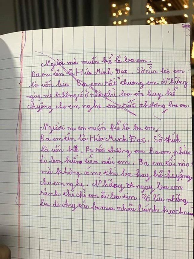 """Con trai Hứa Minh Đạt - Lâm Vĩ Dạ làm bài văn tả bố, """"thật như đếm"""" khiến ai nấy phì cười - Ảnh 2."""