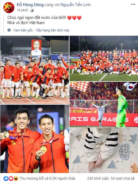 Việt Nam vô địch Sea Games 30, dàn cầu thủ viết nên lịch sử bóng đá nước nhà đã kịp chia sẻ lời cảm ơn đầu tiên sau trận chung kết - Ảnh 1.