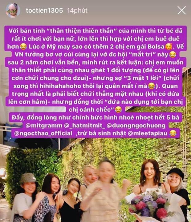 Giữa lúc hội bạn Chi Pu nghi vấn toang, Tóc Tiên bất ngờ nêu quan điểm: Chị em muốn thân thiết phải cùng nhau ghét 1 đối tượng - Ảnh 2.