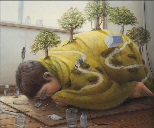 Qua đời ở tuổi 31, họa sĩ Nhật để lại loạt tác phẩm siêu thực ám ảnh thế giới, nhiều dân công sở thấy mình trong đó - Ảnh 6.