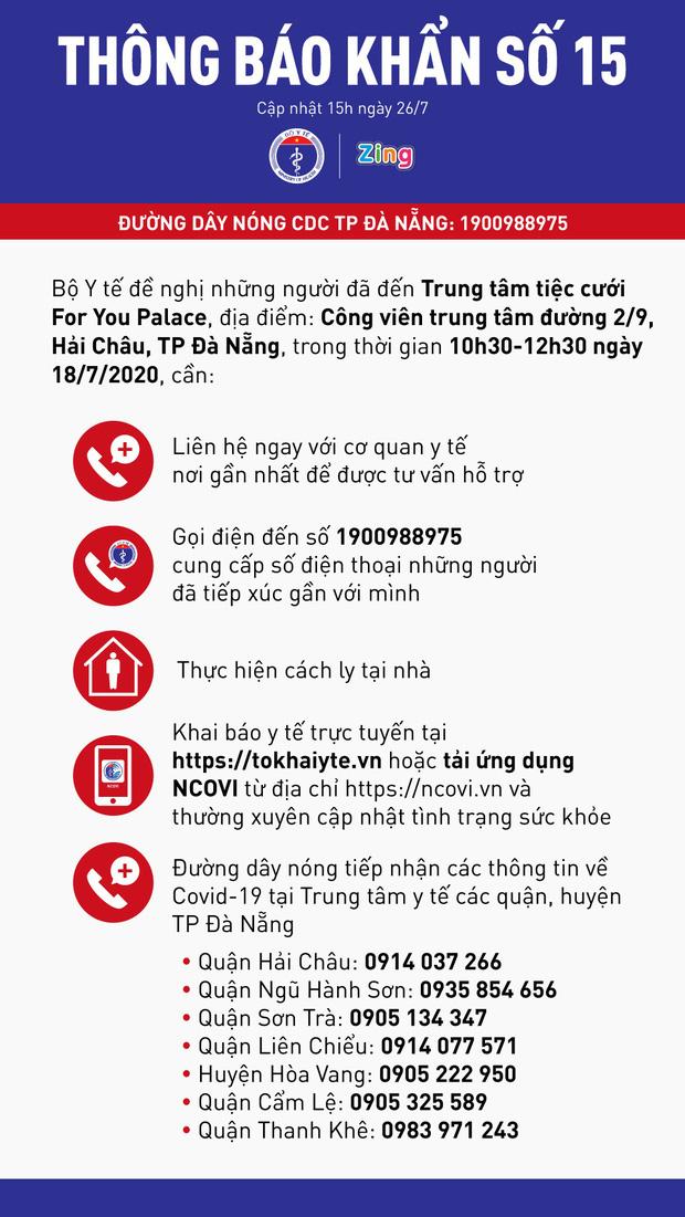 Bộ Y tế phát thông báo khẩn liên quan những người từng đến Trung tâm tiệc cưới For You Palace ở Đà Nẵng - Ảnh 1.