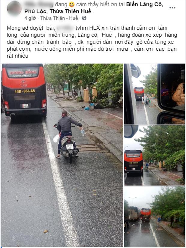 Người dân Huế gõ cửa từng xe xếp hàng trú bão để phát cơm, nước uống miễn phí bất chấp mưa gió khiến ai cũng xúc động - Ảnh 1.