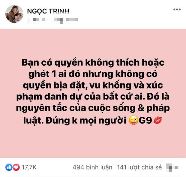 """Ngọc Trinh bị netizen """"tấn công"""" sau status ngầm bênh vực Hương Giang, đến mức phải lên tiếng giải thích ngay và luôn! - Ảnh 4."""