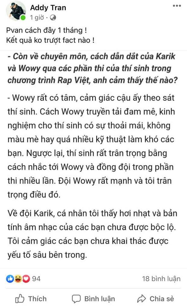 Producer âm nhạc King Of Rap cà khịa Karik dẫn đắt đội mờ nhạt thua Wowy, HLV Rap Việt đáp trả cực thẳng thắn - Ảnh 2.