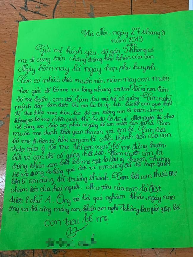 Nghẹn ngào trước bức thư của cậu bé lớp 5 khi sống xa cha mẹ, ai đọc xong cũng giật mình