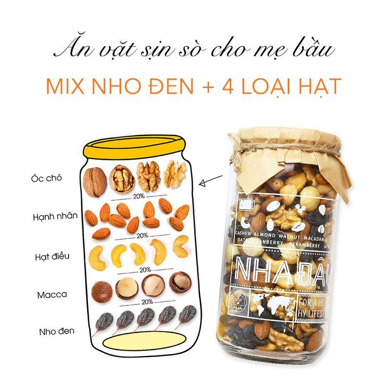 Ăn vặt mẹ bầu - Mix Nho Đen + 4 loại hạt khô (250gr)